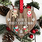 Personalised Babys First 1st Christmas Bauble tree decoration wooden heart hanging ornament keepsake for boy or girl