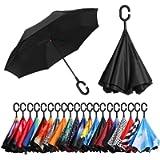Amazon Brand - Eono Double Layer Inverted Umbrellas Reverse Folding Umbrella Self-Standing Windproof UV Protection Big…