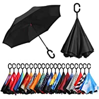 Eono by Amazon - Double Layer Inverted Umbrellas Reverse Folding Umbrella Self-Standing Windproof UV Protection Big Straight Travel Umbrella for Car Rain Outdoor with C-Shaped Handle, Black