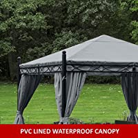 Gazebo Paris 3m X 3m Grey Waterproof Pvc Lined Canopy Heavy Duty Complete With Zipped Curtains *****stock In End Of February***** from MASTERS OUTDOOR LEISURE LTD
