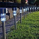 GARDENMILE 10 x, WECHSELNDE FARBE, EDELSTAHL, SOLARBETRIEBEN, FÜR DEN GARTEN, BEETPLATTEN LED WEGELEUCHTE/BORDER-LEUCHTEN-LAMPEN