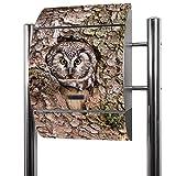 BANJADO Edelstahl Briefkasten groß, Standbriefkasten freistehend 126x53x17cm, Design Briefkasten mit Zeitungsfach Motiv Eule