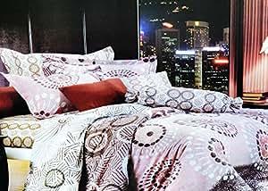155x200 beige rosa weiß braun mehrfarbig Bettwäsche Bettbezüge Bettwäschegarnituren 100% Baumwollsatin ein schönes Muster 78