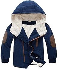 Longra Baby Kinder Junge Winterparka Winterjacke mit Kapuzen Jungen Wintermäntel Kapuzenjacke Jungen Warme Übergangsjacke Steppjacke Outdoorjacke (3-9Jahre)