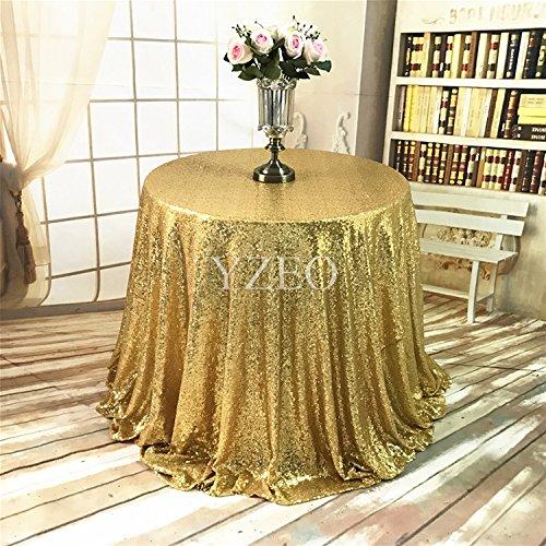 yzeo 396,2cm rund Funkelnd Hochzeit Gold Pailletten Tischdecke für Hochzeit Party Bankett 8ft Tisch -