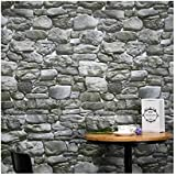 Hexawata 1PC PVC 3D Printing Self Adhesive Wallpaper Brick Stone Decorative Wall Stickers (Style D/61x500cm=33 Sqft)