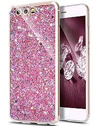 Kompatibel mit Huawei P10 Hülle,JAWSEU für Huawei P10 TPU Silikon Schutzhülle Case Hülle,Luxus Kristall Glitzer Strass Ultra Dünn Handyhülle Silikon Bumper TPU Rückseite Hülle Etui,Rosa
