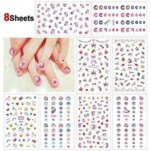 Howaf Einhorn 3D nagelsticker selbstklebend (400+ Designs), Einhorn Nagelaufkleber Nail Art Sticker...