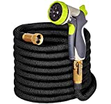 Bosmutus Mangueras de jardín,Garden Water Hose Pipe with 9 Function Spary Gun Anti-Leakage with Brass Fittings &Hose, MAX 50ft Hose Pipe for Gardening and Car Washing