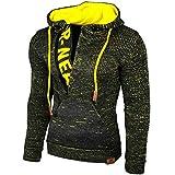 Rusty Neal Top Herren Winter Kapuzenpullover Pulli Sweatshirt Jacke RN-13277, Größe:3XL, Farbe:Anthrazit/Gelb