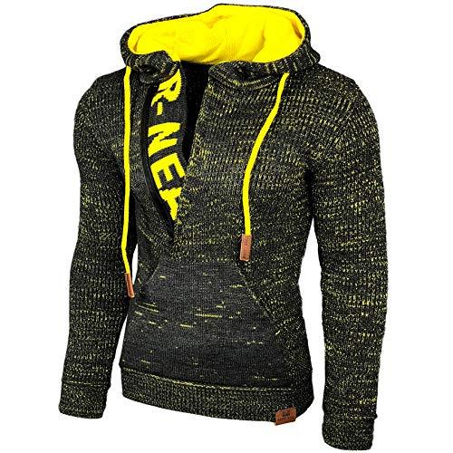 Baxboy Kapuzenjacke Herren Winter Top Kapuzenpullover Reißverschluss Pulli Sweatshirt Jacke RN-13277 Neu, Größe:XL, Farbe:Anthrazit/Gelb