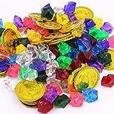 XUNKE Tesoro Pirata Monete d'oro e Gemme dei Pirati, 50 Pezzi Monete Finte e 100 Pezzi Diamanti Acrilici, Tesori per la Caccia al Tesoro Bambini Compleanno