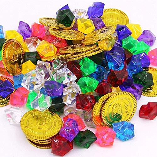XUNKE Goldmünzen des Piratenschatz und Piraten Schmucksteine, 50 Stücke Goldmünzen Kinder und 100 Stücke Piraten Edelsteine, Schätze für Schatzsuche