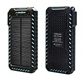 X-DRAGON Solar Charger 15000mAh Portable Power Bank Dustproof Shockproof Dual USB Solar Panel Battery Charger with Dual Bright LED Light for iPhone, Samsung Galaxy, Tablets, Mobile Phones, Home-Blue