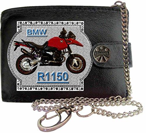 BMW R1150 Image sur portefeuille RFID pour hommes de marque KLASSEK vrai cuir avec chaîne Moto Bike cadeau d'accessoire avec boîte en métal produit BMW Non officiel