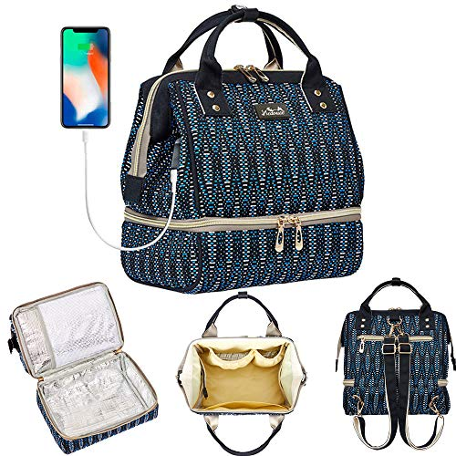 Viedouce mini insulated borsa termica,borsa porta pranzo,borsa da picnic,borsa per pannolini,impermeabile borsa da viaggiocon porta di ricarica usb&2 tracolle regolabili(taglia piccola)