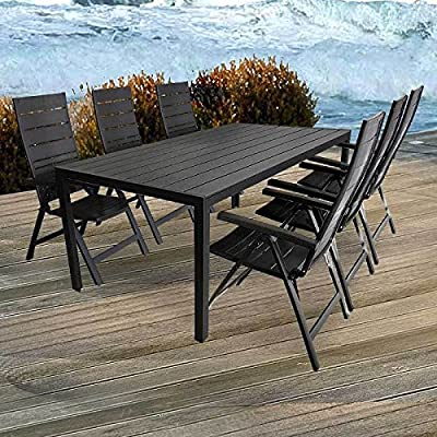 7tlg. Gartengarnitur Aluminium Polywood 205x90cm Hochlehner in 7-Positionen verstellbar Sitzgruppe Sitzgarnitur Gartenmöbel Set