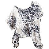 VEMOW Sommer Heißer Elegante Damen Womens Fashion Kurzarm Bluse Brief Drucken Casual Täglichen Party Weit GeschnittenShirts Tasche Tops (S-5XL)(Khaki, EU-48/CN-2XL)