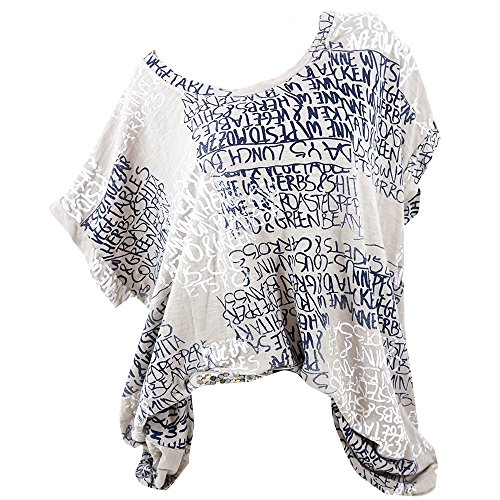 VEMOW Sommer Heißer Verkauf Elegante Damen Womens Fashion Kurzarm Bluse Brief Drucken Casual Täglichen Party Weit GeschnittenShirts Tasche Tops (S-5XL)(Khaki, EU-50/CN-3XL) (Folie Elasthan)