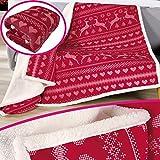 SunDeluxe Premium Winter-Wohndecke 150 x 200 cm Nordic in Rot aufwendig verarbeitete Kuscheldecke edle und hochwertige Winterdecke mit Rückseite in Sherpa Optik