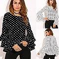 Damen Langarm T-Shirt Oberteile Glockenhülse Lose Polka Dot Shirt Damen Casual Bluse Tops von Amonfineshop_2586 - Outdoor Shop