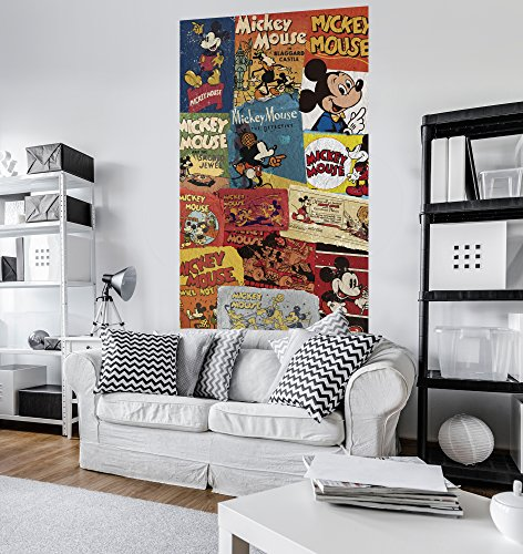 Komar - Disney - Vlies Fototapete MICKEY BILLBOARD - 120 x 200 cm - Tapete, Wand Dekoration, Collage, Retro, Comic - VD-054