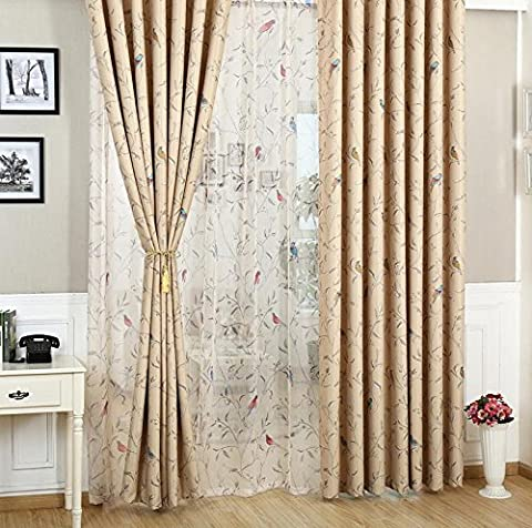 Oriental Bird Vintage Floral CREAM Shabby Chic Tape Top Lined Blackout Curtains 46