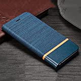 D-Kandy Denim Series Cloth + Leather Flip Wallet Case Stand with Card Holder Cover for Huawei Nova 3i - Blue