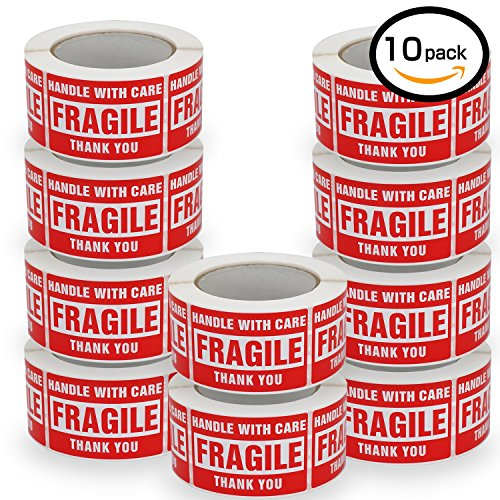 ,Handle With Care -Fragile- Thank You, Red Warning Shipping Label Stickers (2