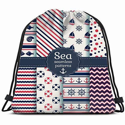 fjfjfdjk Set sea Nautical s White Nature Drawstring Backpack Gym Sack Lightweight Bag Water Resistant Gym Backpack for Women&Men for Sports,Travelling,Hiking,Camping,Shopping Yoga (Womens Beach Line Boat Shoe)