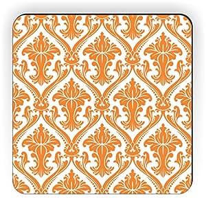 Rikki Knight Damask Design Square Fridge Magnet, Orange