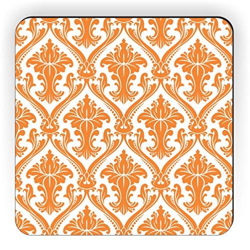 Rikki Knight Damast Design Quadratisch Kühlschrank Magnet, Orange