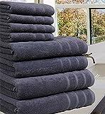 Luxueuse Serviette Bale- 100 % coton égyptien -8pièces - 550g / m² - Tailles extra-larges, 100 % coton, gris, 8 Pieces Set