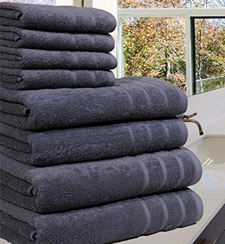 Luxueuse Serviette Bale- 100 % coton égyptien -8pièces - 550g / m² - Tailles extra-larges, 100 % coton, gris, 8 Pieces S