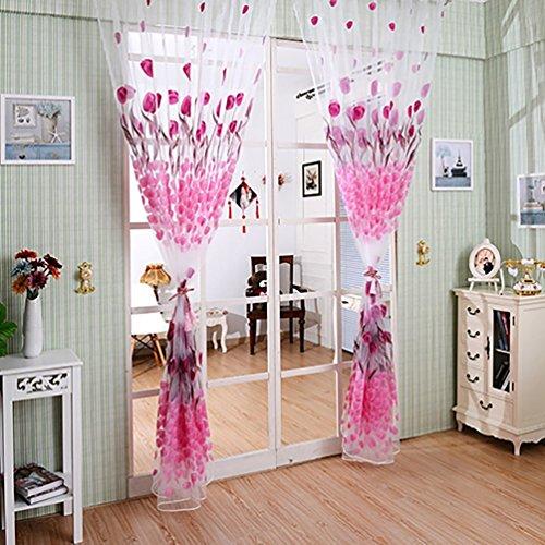 Romantische Tulip Print Voile Sheer Vorhang Tuch Trennwand Querbehang für Tür Fenster amesii (Animal-print Körper Kissenbezug)