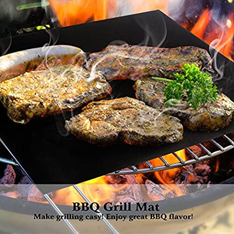Becko BBQ Grills Mat Non-stick Reusable Baking Mats for Grilling Meat, Veggies, Seafood, Eggs - Ideal for Charcoal Grill / Gas Grill / Electric Grill (M*2)