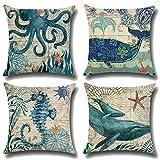 JOTOM Morbido Cotone Lino Throw Pillow Case Cuscino 45 x 45cm Set di 4 (Animale marino)