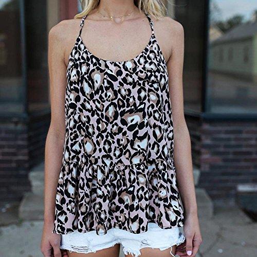 Longra Donna Vestito senza stampa in leopardo senza maniche Multicolore