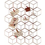 Decort Rose Gold DIY Metal Grid Photo Frame for Wall - 16 in x 20 in - 8 Photo Clips Included - Fancy Multi-Functional Wall H