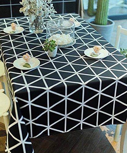 GAOJIAN Nappe à carreaux géométrique en noir et blanc moderne Toile de coton en coton américain , 60*60cm , a