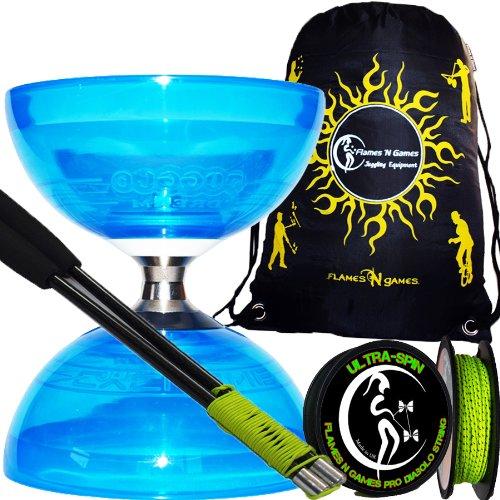Diabolo Set Cyclone Quartz (Blau) Freiläufer (mit kugellager) Dreifache Lagerung Kombi-Set mit Diablo CARBON-Handstäbe und Diaboloschnur (diabolo schnur ULTRA-SPIN Pro) 10m-Rolle +Reisetasche! Jongliergeräte / Diabolo Für Kinder