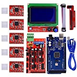 iHaospace 3D Drucker Controller Kit für RAMPS 1.4 + Mega 2560 R3 + LCD 12864 Display Controller + 5pcs A4988 Stepper Motor Driver with Heatsink use für Arduino Reprap Drucker