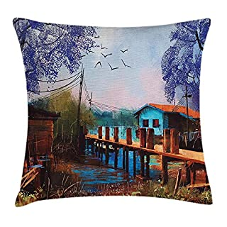 ZHIZIQIU Lake House Decor Throw Pillow Cushion Cover, Vintage Hand Drawn Artisan Picture of Fishing Village with Old Bridge and Gulls, Decorative Square Accent Pillow Case, 18 X 18 Inches, Multi
