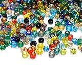 Rocailles Perlen 4mm NUR Silbereinzug Glasperlen Perlenmischung 6/0 Bunte Mix Set Kugel Rund Mini Perlen Tiere Indianerperlen für die Konfektion von Schmuck DIY Basteln (100g)