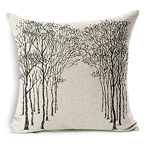 Poens Dream Housse de Coussin, Abstract Nature Black Tree Cotton Linen Decorative Throw Pillow Case Cushion Cover, 17.7 x 17.7inches