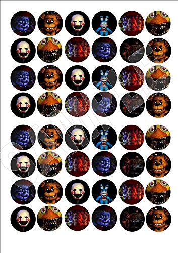 48 x Five Nights at Freddys Halloween fairy cake toppers printed on Icing, Wafer paper or Wafer Card (icing)