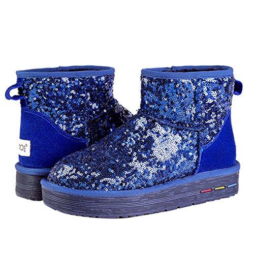 HooH Femmes Nubuck Sequins Bottes De Neige 5857 Bleu