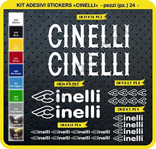 Adesivi Bici CINELLI Kit Adesivi Stickers 24 Pezzi -Scegli SUBITO Colore- Bike Cycle pegatina cod.0091 (Bianco cod. 010)