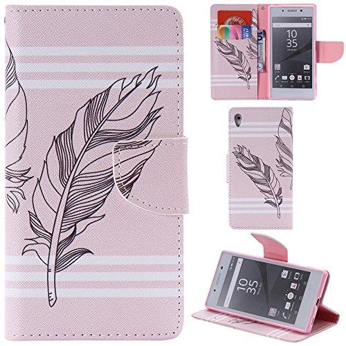 Ooboom® Sony Xperia Z5 Coque PU Cuir Flip Housse Étui Cover Case Wallet Portefeuille Fonction Support avec Porte-cartes pour Sony Xperia Z5 - Don't Touch My iPhone Plume