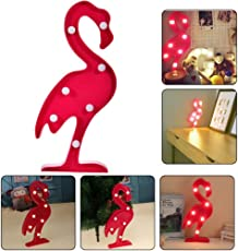 3D Flamingo LED Lamp by House of Quirk Romantic Marquee Flamingo Table Lights for Home Wall Kid's Room Birthday Party Decorations Valentina Christmas Gift (Flamingo)